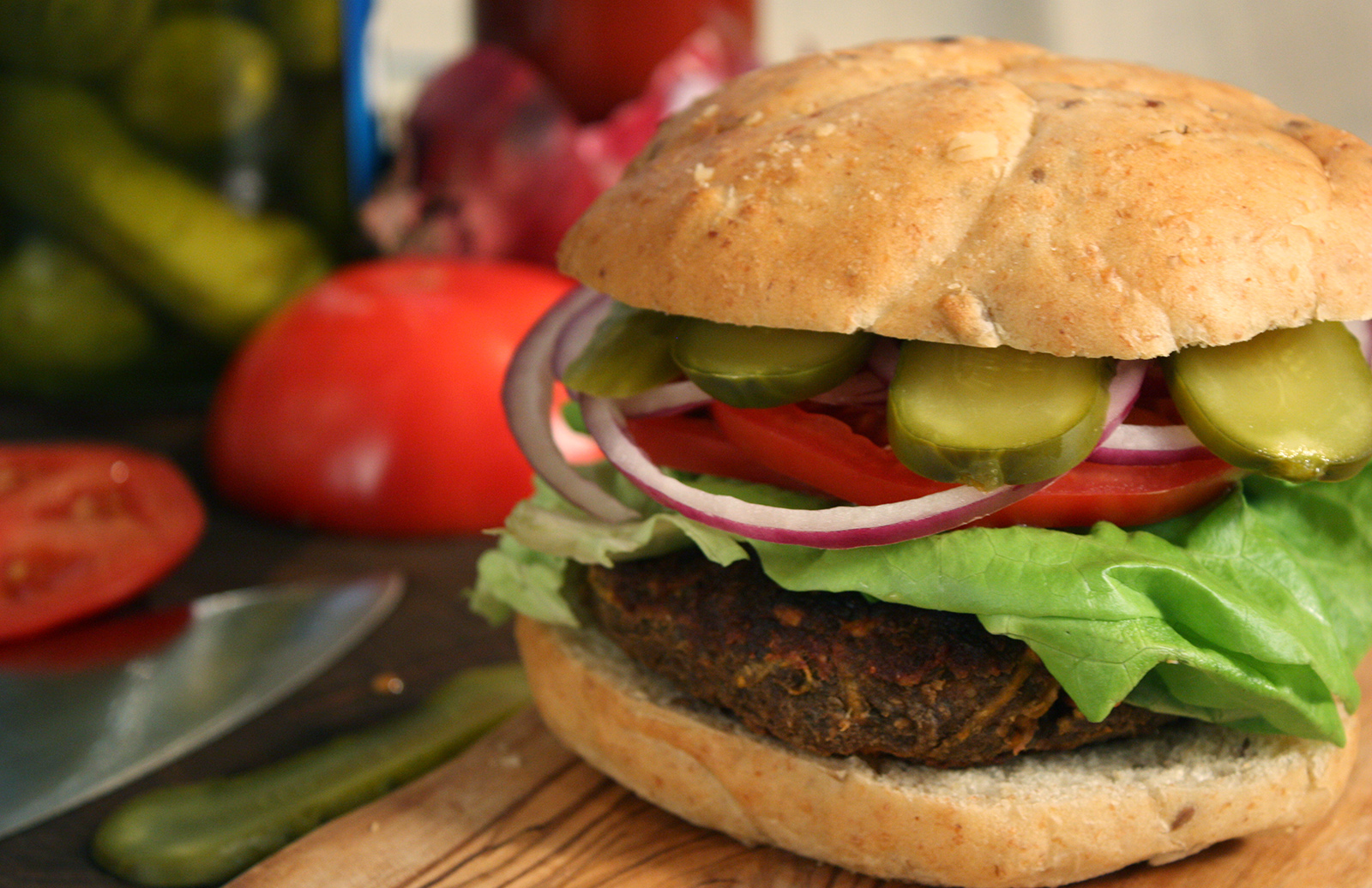 Vegan Lentil Burgers with the Works by Chef Michael Smith | Lentils.ca