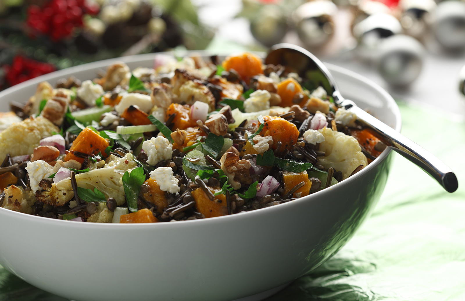Warm Roasted Squash, Cauliflower, Rice, & Lentil Salad | Lentils.ca